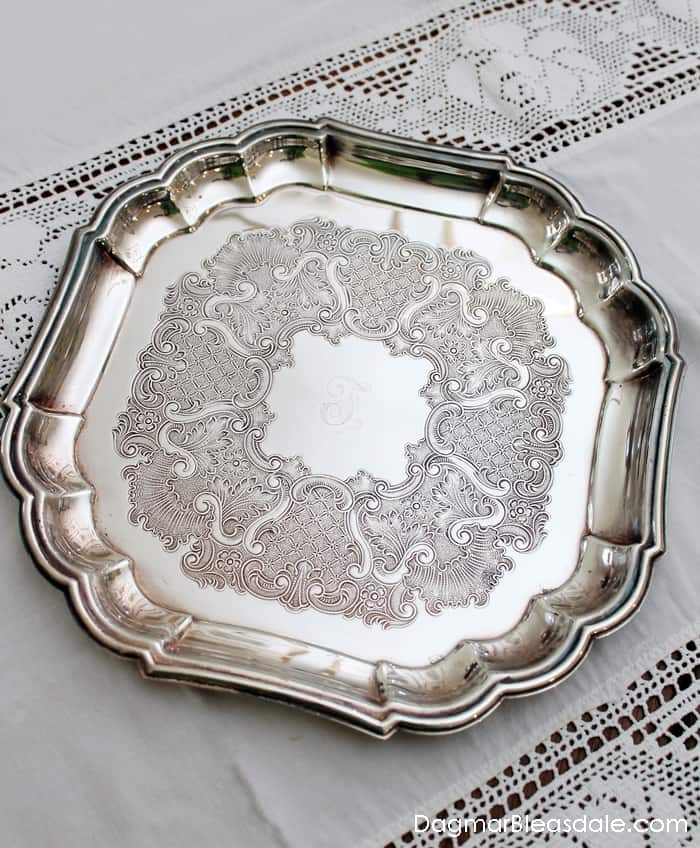 Decorating With a Thrift Store Silver Tray, DagmarBleasdale.com