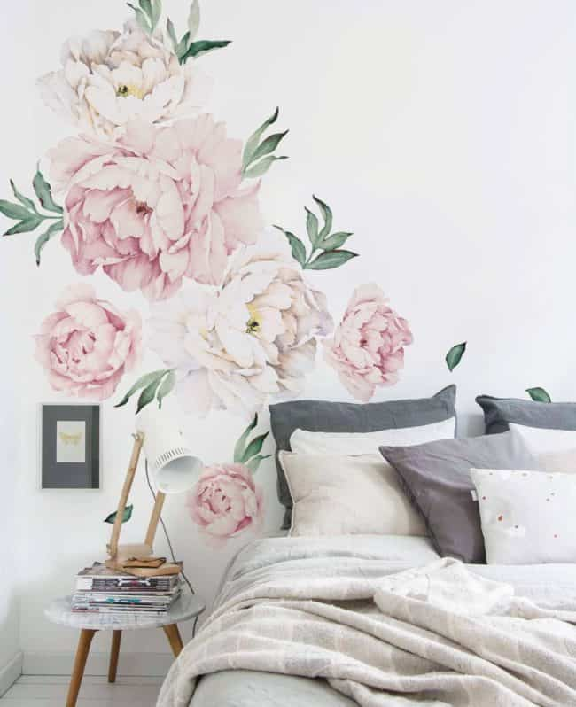 peony wall stickers, floral wallpaper