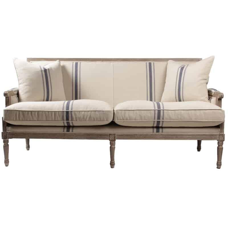 grain sack sofa Lafontaine for farmhouse look