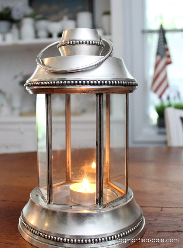silver lanterns Pottery Barn