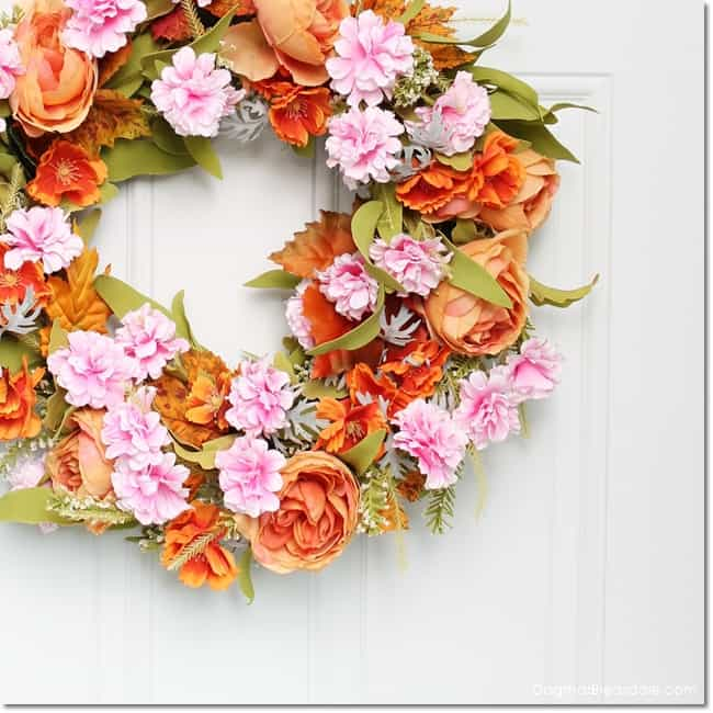 easy fall wreath made out of spriing wreath