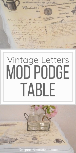 mod podge table with vintage letters