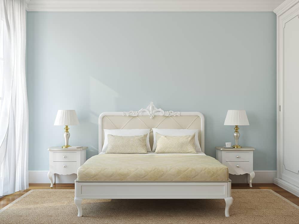 Classical bedroom interior. Bedroom color light blue